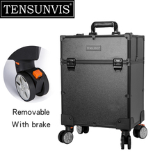TENSUNVIS Black 4 Rolling Wheel MDF Artist Makeup Cosmetic Train Case Lockable Box Rolling Trolley Cosmetic Case