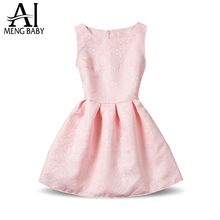 2017 Summer Pink Color Sleeveless Girls Dress for baby Kids 6 7 8 9 10 Years Birthday Party Dresses for Girl Clothes Formal Wear