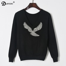 BIG SALE! Jersey Pullover 2017 Winter Sweater for Women Designer Elegant Beaded Eagle Diamond Knitted Sweater Casual Tops Jumper