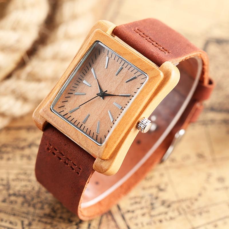 Creative Rectangle Dial Wood Watch Natural Handmade Light Bamboo Fashion Men Women Casual Quartz Wristwatch Genuine Leather Gift 11