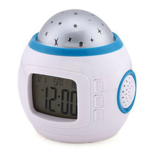 Room decor star sky led electronic digital projection alarm clock with light music children kids gifts home party decoration(China)