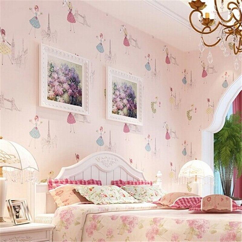 beibehang Modern Cartoon Kid  wallpaper children papel de parede roll Pink Blue 3D Wall paper Ballet girl princess room bedroom<br>