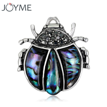 Cute Pin Ladybug Shell Brooch Beetle Broches Vintage Pins Black CZ Insect Brooches Silver Color Men Suit Accessories(China)