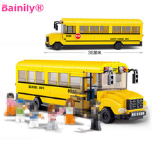 [Bainily]392pcs Happy School Bus Learning Educational DIY Toys Building Blocks Bricks Gift Toy For Children(China)