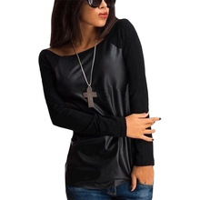 Fall t shirt women new European American splicing long-sleeved T-shirt bottoming clothing vestidos LBD1186