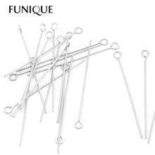 FUNIQUE 200PCs Silver Tone Stainless Steel 4cm Eye Pins For Jewelry Making Accessories DIY Pendant Supplies