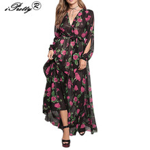 Buy Women 2017 New Maxi Dress Rose Flower Print Deep V Neck Boho Long Dress Sexy Ladies Split Sleeve Elegant Vestidos Clothes for $13.00 in AliExpress store