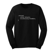 Mens Ninja Code Funny Web Developer Designer Geek Long Sleeve T-Shirts Men Tee(China)
