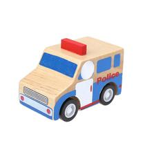 Baby Kids Toy Mini Wooden Car Toys Pull Back Car New Mini Wooden Police Car Truck Model Toys for Kids Children Vehicle Toy Cars(China)