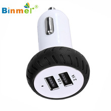 Hot-sale BINMER Phone Car Charger Car Lighter Slot Mini Dual 2 Port 12V USB Auto In Car Charger Adapter Adaptor Charging