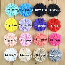"100pcs/lot New Comming 3"" Artificial Solid Lace Flower Flat Back Kids Garment Hair Accessories FH62"