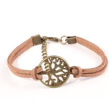 New Hot Sale 100% Fashion Vintage Hand-woven Rope Chain Leather Bracelet Metal Tree Charm Bracelets Jewelry For Women NP254(China)