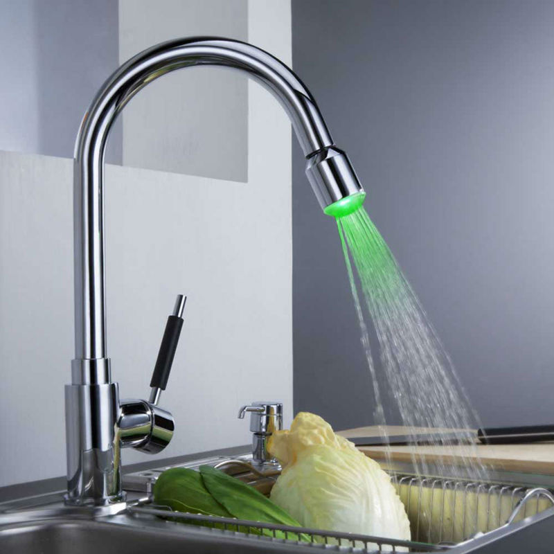 LED Kitchen Faucet Pull Out,Kitchen LED Faucet,Kitchen Sink Faucet,Swivel Spout Mixer Tap HG-1350LED<br><br>Aliexpress