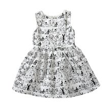 Factory Price! Baby Girls Sleeveless Cartoon Dress Infant White Rabbit Printed Tutu Dress Casual Kids Easter Clothes