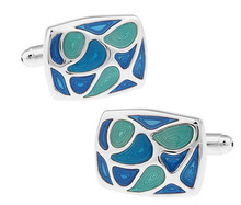 iGame Factory Price Retail Men's Cufflinks Green Color Brass Material Enamel Design Cuff Links