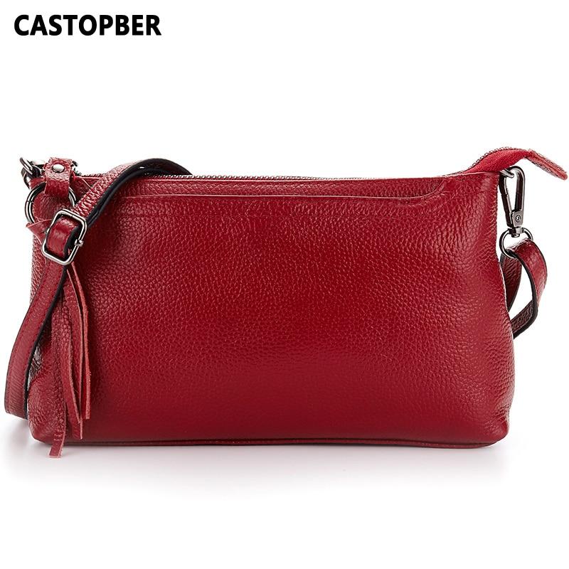 Fashion First Layer Genuine Leather Bag Full Grain Leather Women Messenger Bag High Quality Ladies Crossbody Handbags Day Clutch<br>