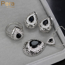 Pera Unique Black Crystal Stone Women Costume Jewelry Sets Big Water Drop Earrings Necklace Set For Engagement Party Gift J170(China)