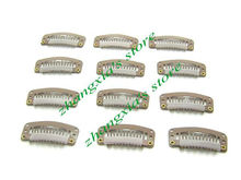 3.2cm 6 Teeth Hair Clips for Hair Extensions,Toupees Clips,Wig Clips,Hair Extensions Tools,Light Brown,100pcs,Free Shipping