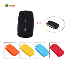 2Buttons Remote Flip Folding Car Key Silicone Shell for VW Volkswagen MK4 Bora Golf 4 5 6 Passat Polo Bora Touran