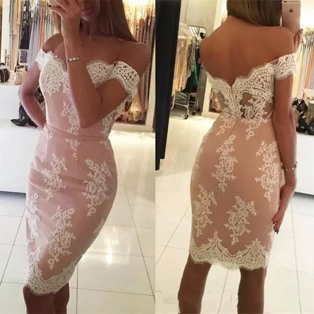 2019 Short Cocktail Dresses Lace Appliques Off the Shoulder Fitted Knee Length Custom Made Party Gowns with Sash Evening Gowns