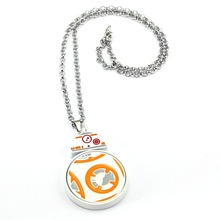 Star Wars BB-8 Droid Robot Necklace Rotatable Pendant Fashion link chain Necklaces Friendship Gift Jewelry(China)
