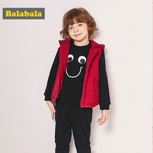 balabala baby boys clothes set winter three pieces suits warm jacket+sweater+ pants toddler kids cotton hooded clothing sets(China)