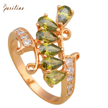 New Hot Popular green gem stone rings for women Fashion jewellery Yellow Gold Green Ring size 6 7 8 R581