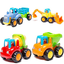 2017 New Child Toys Engineering Car Toys Cartoon for Toddlers Dump Truck Cement Mixer Bulldozer Tractor Kids Car Toys(China)