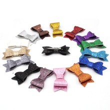 "Buy 2pcs Retai 15 Colors Chic European 3"" Glitter Leather Hair Bow Clips Children Hairpins Bowknot Hair Accessory Headwear for $1.05 in AliExpress store"