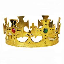 JINSE Hot Marking COS Princess Royal King Crown Headdress Gold Masquerade Show Props CR068