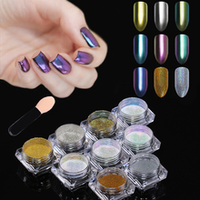 BORN PRETTY 9Pcs Mirror Chameleon Glitter Powder Set Holo Chrome Nail Art Dust Pigment Holographic Glitters Nailart Manicure Kit(China)