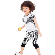 girls clothing set 2017 new cartoon zebra t shirt+shorts pants baby clothes summer style high quality cute 2pcs boy clothing set