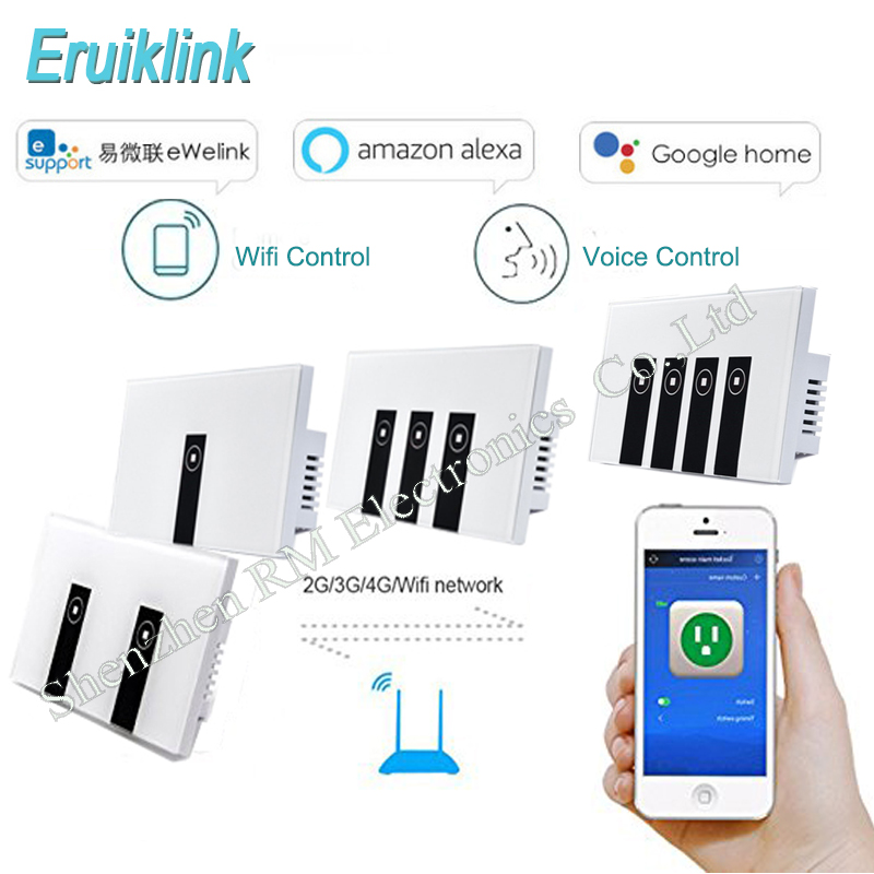 Eruiklink US Standard 1/2/3/4 Gang Wifi Control Light Switches ,Work with Alexa/Google Home Wireless Control Wall Touch Switch <br>