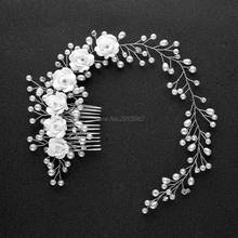 Bridal Flowers Faux Pearl Wedding Girl Tiara Floral Headdress Headband Hair Comb-W128