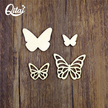 QITAI 36pcs/lot Wooden Butterfly Creative Decoration DIY Home Decor Warm Small Ornaments Energetical Crafts WF015(China)