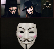 Free shipping Cosplay Guy Fawkes Mask V for Vendetta Cosplay Movie Party Costume Masque Resine Halloween Mascara Masquerade