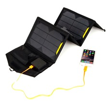 Portable folding 5V 15W double USB port solar charger mobile phone power MP3 MP4 GPS Camera Game solar panels Outdoor Charging(China)