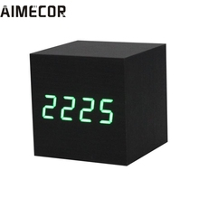 My House Digital LED Black Wooden Wood Desk Alarm Brown Clock Voice Control,jun 17