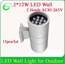 Strong Aluminum fitting,high power 24W outdoor LED wall lamp,LED up-down light,good quality AC85-265V(China)