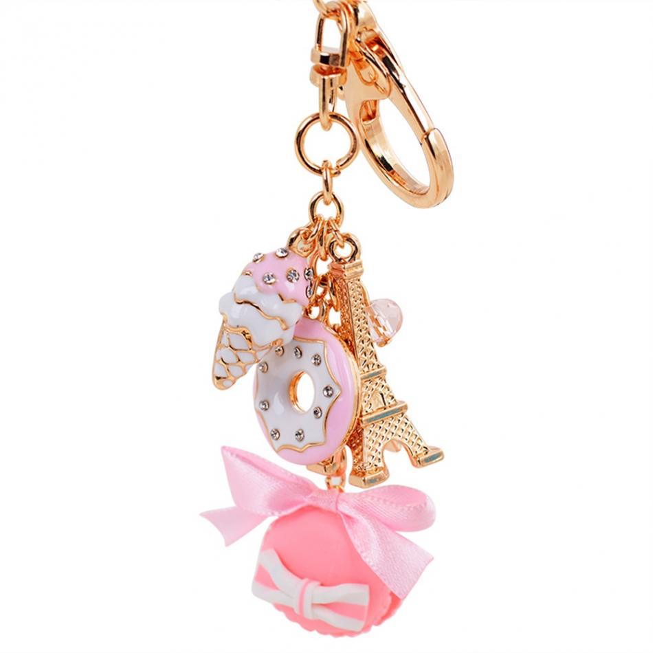 LADUREE Paris Keychain Key Chain Ring Keyring Charm Macaron Eiffel Tower Pink