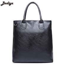 Multifunction Solid Hand Bag PU Leather Casual Business Tote Bags For Man Large Capacity Black Men's Handbag(China)