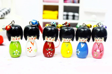 Mobile Phone Charms Japanese Oriental Kokeshi with KIMONO Doll Cell Phone Straps KeyChain keyring key ring Key Chain