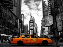 Yellow Cab Taxi Times Square Night Lights New York City BW Art Huge Print Poster TXHOME D5676