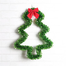 Green Tinsel Ribbon Christmas Tree shape pendant Red Bowknot Xmas party wall hanging decoration Glitter vine Tree festival sale(China)