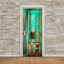 Home Creative DIY 3D Door Stickers Wooden Door Pattern for Kids Room Door Home Decoration Accessories Large Wall Sticker(China)