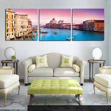 Modern Canvas Painting 3 Pieces Wall Art Italy Venice Landscape Paintings Beautiful City River Decorative Pictures No Frame