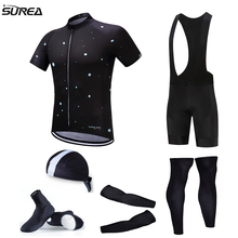 2017 Pro Team Cycling Full Set 6pcs Cycling Jersey Set Men Jersey with Hat Sleeves Leg Warmer Shoes Cover Bicycle Jerseys Sets