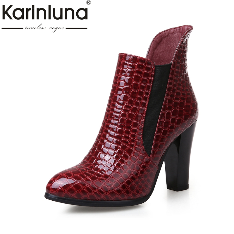 KARINLUNA  2017 stone print plus size 34-43 chelsea boots fashion spike high heel ankle boots women shoes woman fur winter<br>
