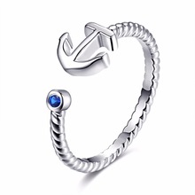 Fashion Simple Ladies Anchor Rings for Women Opening Blue zircon jewelry Wholesale ZK30 SJ112921 ZK30(China)