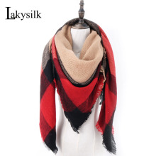 [Lakysilk]Fashion Brand Scarf Women Plaid Cashmere Pashmina Blanket Square Scarves Warm Winter Head Shawls&Wraps 140cm Red(China)
